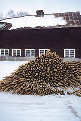 Barn With Wooden Stakes