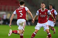 PIRAEUS, GREECE - FEBRUARY 25: Kieran Tierney of Arsenal FC scores the second goal for his team during the UEFA Europa League Round of 32 match between Arsenal FC and SL Benfica at Karaiskakis Stadium on February 25, 2021 in Piraeus, Greece. (Photo by MB Media)