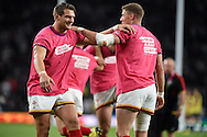 Wales players Rhys Priestland and Dan Biggar (l) warm up pre-match. . Rugby World Cup 2015 pool A match, England v Wales at Twickenham Stadium in London, England  on Saturday 26th September 2015.<br /> pic by  Andrew Orchard, Andrew Orchard sports photography.