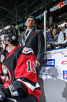 KELOWNA, CANADA - NOVEMBER 9: Don Hay, coach of Team WHL stands on the bench against the Team Russia on November 9, 2015 during game 1 of the Canada Russia Super Series at Prospera Place in Kelowna, British Columbia, Canada.  (Photo by Marissa Baecker/Western Hockey League)  *** Local Caption *** Don Hay;
