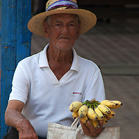 Central America, Cuba, Remedios. Cuban banana man of Remedios.