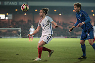 Jodie Taylor (England) (Arsenal) watched the ball drop in front of her as Elena Linari (Italy) (Darl Fiorentina) looks on during the Women's International Friendly match between England Ladies and Italy Women at Vale Park, Burslem, England on 7 April 2017. Photo by Mark P Doherty.
