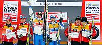 Langrenn<br /> World Cup / Verdenscup<br /> Düsseldorf Tyskland<br /> 05.12.2010<br /> Foto: Gepa/Digitalsport<br /> NORWAY ONLY<br /> <br /> FIS Weltcup, 6x0,9km Staffel, Free Team Sprint der Damen, Siegerehrung. Bild zeigt den Jubel von Maiken Caspersen Falla, Celine Brun-Lie (NOR), Magda Genuin, Arianna Follis (ITA), Daria Gaiazova und Chandra Crawford (CAN).