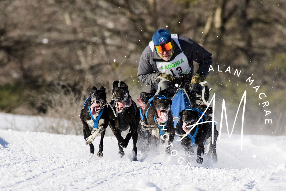 Guy Girard of St. Thomas de Joliette, PQ, steers his team down a stretch along Meredith Center Road on the second day of the World Championship Sled Dog Derby in Laconia on Saturday February 15, 2020.  Girard finished fifth overall in the three day unlimited class.  (Alan MacRae for the Laconia Daily Sun)