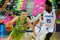 Klemen Prepelic of Slovenia vs Jack Martinez of Dominican Republic during basketball match between National Teams of Slovenia and Dominican Republic in Eight-finals of FIBA Basketball World Cup Spain 2014, on September 6, 2014 in Palau Sant Jordi, Barcelona, Spain. Photo by Tom Luksys  / Sportida.com <br /> ONLY FOR Slovenia, France
