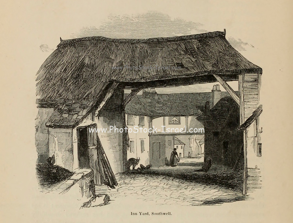 Inn Yard Southwell From the book The wanderings of a pen and pencil by Palmer, F. P. (Francis Paul); Illustrated by Crowquill, Alfred, [Alfred Henry Forrester]  Published in London by Jeremiah How in 1846