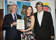 NO FEE PICTURES<br /> 25/1/19 Miriam Burke, who accepted the Best Long Haul award on behalf of her father David Burke, presented by John Spollen of Cassidy Travel and Eoghan Corry, editor of Travel Extra pictured at the Travel Extra Travel Journalist of the Year 2018 at the Clayton Hotel, Ballsbridge in Dublin. Picture; Arthur Carron