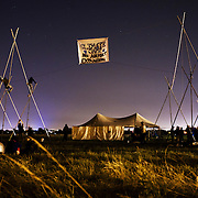 Structures at night - Climate Camp 2007