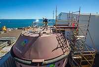 Carnegie Wave Energy in North Freemantle. Operations Engineer Andy Mercer works on top of the Bouyant Actuator (BA), this one has been submersed for some time, a new much larger one is schedule for construction. Photo By Craig Sillitoe This photograph can be used for non commercial uses with attribution. Credit: Craig Sillitoe Photography / http://www.csillitoe.com<br /> <br /> It is protected under the Creative Commons Attribution-NonCommercial-ShareAlike 4.0 International License. To view a copy of this license, visit http://creativecommons.org/licenses/by-nc-sa/4.0/.