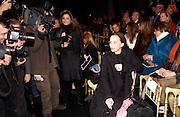 Kirsten Scott Thomas, Valentino couture fashion sho,  rue Bonaparte, Paris, 21 January 2004. © Copyright Photograph by Dafydd Jones 66 Stockwell Park Rd. London SW9 0DA Tel 020 7733 0108 www.dafjones.com