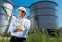 Environmental portrait of Hugh Welsh, General Counsel & President of Royal DSM North America taken at the Project Liberty ethanol production site in Emmetsburg, Iowa, on August, 8, 2013.