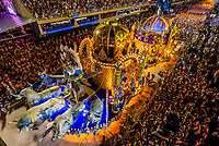 Floats in the Carnaval parade of Paraiso do Tuiuti samba school in the Sambadrome, Rio de Janeiro, Brazil.