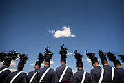 Senior cadets preside over a pass in review during the 2021 Long Grey Line Parade on Summerall Field at The Citadel in Charleston, South Carolina on Friday, May 7, 2021.<br /> <br /> Credit: Cameron Pollack / The Citadel