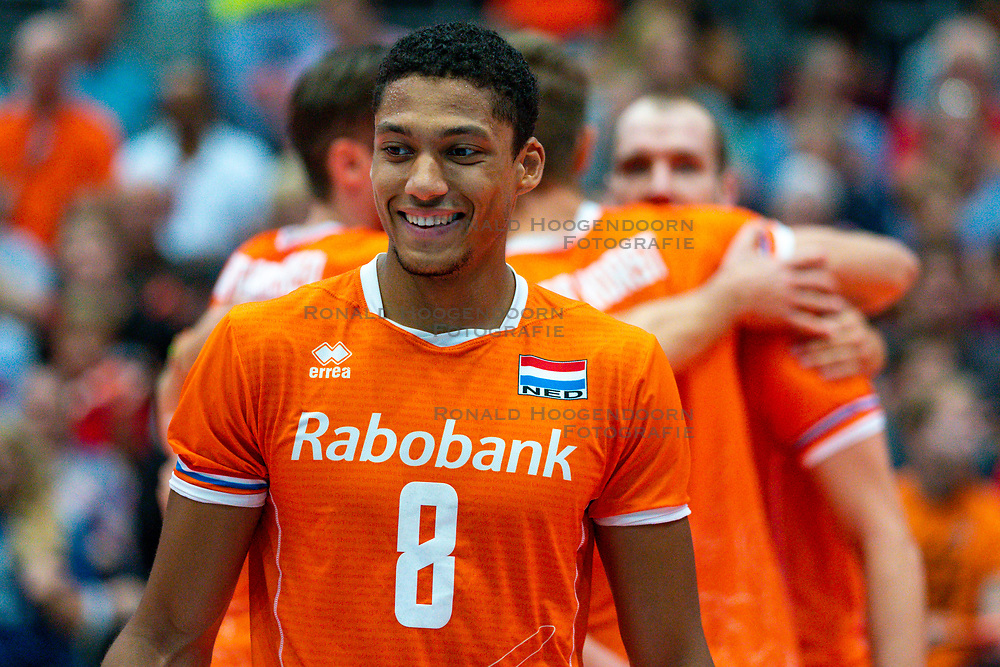 09-08-2019 NED: FIVB Tokyo Volleyball Qualification 2019 / Netherlands, - Korea, Rotterdam<br /> First match pool B in hall Ahoy between Netherlands - Korea (3-2) for one Olympic ticket / Fabian Plak #8 of Netherlands