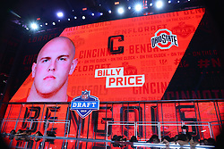 April 26, 2018 - Arlington, TX, U.S. - ARLINGTON, TX - APRIL 26:  Billy Price on the video board after being chosen by the Cincinnati Bedngals with the 21st pick during the first round at the 2018 NFL Draft at AT&T Statium on April 26, 2018 at AT&T Stadium in Arlington Texas.  (Photo by Rich Graessle/Icon Sportswire) (Credit Image: © Rich Graessle/Icon SMI via ZUMA Press)
