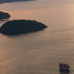Aerial view of Schooner at Sunset with the , Acadia National park, Maine