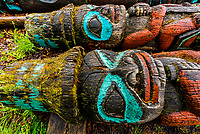 Totem poles, Fort Seward in Haines, Alaska USA.
