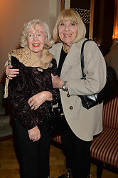 Left to right, actress PEGGY CUMMINS and DAME DIANA RIGG at a party to celebrate the publication of  'I Used to be in Pictures' an untold story of Hollywood by Austin Mutti-Mewse and Howard Mutti-Mewse held at The Lansdowne Club, London on 6th March 2014.