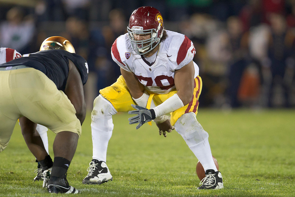 USC center Khaled Holmes (#78) snaps the ball during second quarter of NCAA football game between Notre Dame and USC.  The USC Trojans defeated the Notre Dame Fighting Irish 31-17 in game at Notre Dame Stadium in South Bend, Indiana.