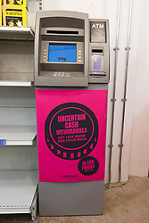 © Licensed to London News Pictures. 23/11/2018. London, UK.  'Uncertain Cash Withdrawals' ATM cash machine inside the People's Vote campaign stunt pop-up shop in Peckham High Street on Black Friday to show that the government's Brexit deal is a bad deal and the shop is stocked with household products, such as 'chlorinated' chicken to illustrate the bad deal. Photo credit: Vickie Flores/LNP