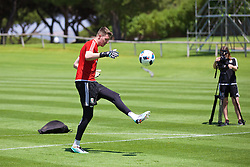 VALE DO LOBO, PORTUGAL - Wednesday, May 25, 2016: Wales' goalkeeper Wayne Hennessey during day two of the pre-UEFA Euro 2016 training camp at the Vale Do Lobo resort in Portugal. (Pic by David Rawcliffe/Propaganda)
