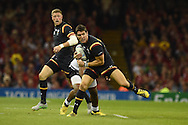 James Hook of Wales makes a break after coming on as a late replacement. Rugby World Cup 2015 pool A match, Wales v Fiji at the Millennium Stadium in Cardiff, South Wales  on Thursday 1st October 2015.<br /> pic by  Andrew Orchard, Andrew Orchard sports photography.