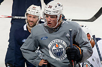 KELOWNA, BC - SEPTEMBER 23: Joel Persson #36 of the Edmonton Oilers stands at the bench during practice at Prospera Place on September 23, 2019 in Kelowna, Canada. (Photo by Marissa Baecker/Shoot the Breeze)