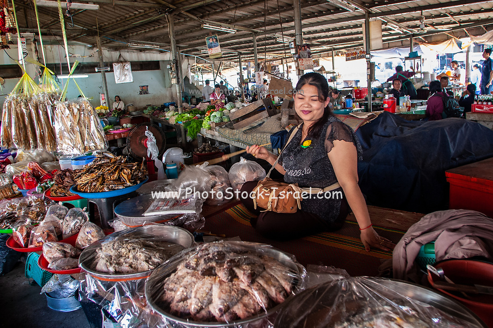cooked food Stall in a food market in Thailand