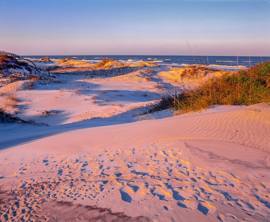 Windblown sand patterns in dunes, looking towards Gulf of Mexico, distant rolling waves, St Joseph, FL