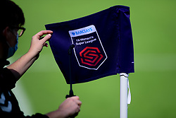 A Barclays Womens Super League corner flag is disinfected prior to kick off - Mandatory by-line: Ryan Hiscott/JMP - 06/09/2020 - FOOTBALL - Twerton Park - Bath, England - Bristol City Women v Everton Ladies - FA Women's Super League