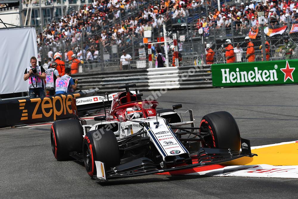 Kimi Raikkonen (Alfa Romeo-Ferrari) with a lifted front wheel in the air during qualifying before the 2019 Monaco Grand Prix. Photo: Grand Prix Photo