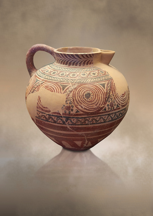 Spherical jug spiral and floral decorated. Early Cycladic I (1650-1550 BC); Phylakopi; Melos. National Archaeological Museum Athens. Cat No 5818.<br /> <br /> During this Cycladic period the pottery designs were heavily influenced by Cretean minoan with pottery. .<br /> <br /> If you prefer to buy from our ALAMY PHOTO LIBRARY  Collection visit : https://www.alamy.com/portfolio/paul-williams-funkystock/cycladic-art-artefacts.html Type into the LOWER SEARCH WITHIN GALLERY box to refine search by adding background colour, place, museum etc<br /> <br /> Visit our CYCLADIC CIVILISATIONS PHOTO COLLECTIONS for more photos to download or buy as wall art prints https://funkystock.photoshelter.com/gallery-collection/Cycladic-civilisation-Ancient-Greek-Artefacts-art-Photos-Pictures-Images/C0000CmevVvnC.XU