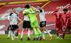LIVERPOOL, ENGLAND - Sunday, March 7, 2021: Fulham players celebrate at the final whistle during the FA Premier League match between Liverpool FC and Fulham FC at Anfield. Fulham won 1-0. (Pic by David Rawcliffe/Propaganda)