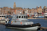 Docked in Randgates Harbour is the UK Border Forces patrol vessel HMC Nimrod in Ramsgate Harbour, on 8th January 2019, in Ramsgate, Kent, England. The Port of Ramsgate has been identified as a Brexit Port by the government of Prime Minister Theresa May, currently negotiating the UKs exit from the EU. Britains Department of Transport has awarded to an unproven shipping company, Seaborne Freight, to provide run roll-on roll-off ferry services to the road haulage industry between Ostend and the Kent port - in the event of more likely No Deal Brexit. In the EU referendum of 2016, people in Kent voted strongly in favour of leaving the European Union with 59% voting to leave and 41% to remain.