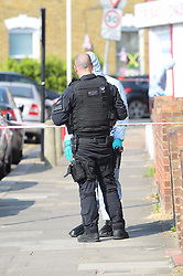 July 27, 2018 - London, East London, UK - London UK: Police seal off Bective road in Forest Gate after shots were fired from a car being chased by armed officers on Thursday evening. Police say three men have been arrested and charged with attempted murder  (Credit Image: © Steve Poston/London News Pictures via ZUMA Wire)