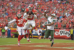 Sep 25, 2016; Kansas City, MO, USA; Kansas City Chiefs strong safety Eric Berry (29) intercepts a pass intended for New York Jets wide receiver Jalin Marshall (89) during the second half at Arrowhead Stadium. The Chiefs won 24-3. Mandatory Credit: Denny Medley-USA TODAY Sports