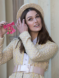 December 13, 2018 - London, London, United Kingdom - Image licensed to i-Images Picture Agency. 13/12/2018. London, United Kingdom. Keira Knightley with her OBE after an Investiture at Buckingham Palace in London. (Credit Image: © Stephen Lock/i-Images via ZUMA Press)