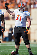 AUSTIN, TX - SEPTEMBER 26:  Brad Lundblade #71 of the Oklahoma State Cowboys lines up against the Texas Longhorns on September 26, 2015 at Darrell K Royal-Texas Memorial Stadium in Austin, Texas.  (Photo by Cooper Neill/Getty Images) *** Local Caption *** Brad Lundblade