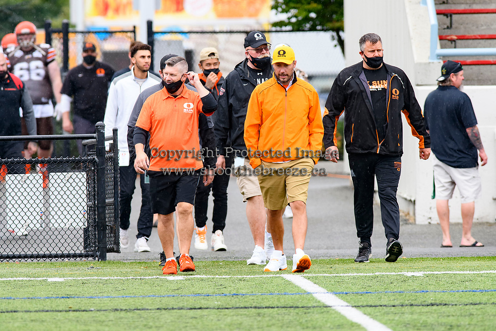 CHILLIWACK, BC - SEPTEMBER 11: Okanagan Sun coaching staff enter the field at the start of the game against the Westshore Rebels at Exhibition Stadium in Chilliwack, BC, Canada. (Photo by Marissa Baecker/Shoot the Breeze)