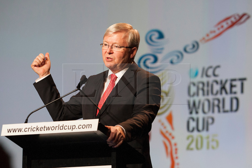 © Licensed to London News Pictures. 30/7/2013. Australian Prime Minister makes a gesture with his hands while speaking during the official launch of the I.C.C Cricket World Cup to be held in Australia and New Zealand in 2015, Melbourne, Australia. Photo credit : Asanka Brendon Ratnayake/LNP