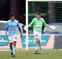 Fotball <br /> Adeccoligaen<br /> Hønefoss Idrettspark<br /> 17.09.08<br /> Hønefoss BK  v  Sandnes Ulf  2-2<br /> <br /> Foto: Dagfinn Limoseth, Digitalsport<br /> Artur Kotenko , Sandnes Ulf slår oppgitt ut med armene<br /> Fabiano Kristiansen tv