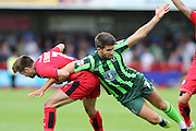 George Francomb of AFC Wimbledon and Gwion Edwards during the Sky Bet League 2 match between Crawley Town and AFC Wimbledon at the Checkatrade.com Stadium, Crawley, England on 15 August 2015. Photo by Stuart Butcher.