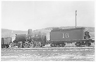 RGS 2-8-0 #16 in Ridgway deadline, apparently after a misfortune.<br /> RGS  Ridgway, CO  Taken by Voss, H. L. - ca 1908