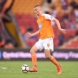 BRISBANE, AUSTRALIA - MARCH 31: Daniel Bowles of the Roar in action during the Round 25 Hyundai A-League match between Brisbane Roar and Central Coast Mariners on March 31, 2018 in Brisbane, Australia. (Photo by Patrick Kearney / Brisbane Roar FC)