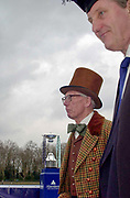 Putney. London.  2004 University Boat Race,  Championships Course, Putney to Mortlake. <br /> Re enactment row, Cambridge and Oxford . Christopher DAVAGE and A.N. Other<br /> [Mandatory Credit Peter SPURRIER]