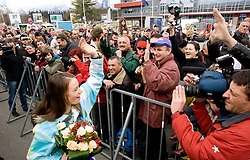 Slovenian 2-times silver medalist alpine skier Tina Maze at arrival to Airport Joze Pucnik from Vancouver after Winter Olympic games 2010, on February 28, 2010 in Brnik, Slovenia. (Photo by Vid Ponikvar / Sportida)