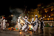 Traditional Ger dancers at The Maharana's City Palace for Hindu Holi Fire Festival, Udaipur, Rajasthan, India