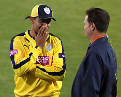 Hampshire's Owais Shah chats with Sky Sports Presenter and former England player Rob Key - Photo mandatory by-line: Robbie Stephenson/JMP - Mobile: 07966 386802 - 04/06/2015 - SPORT - Cricket - Southampton - The Ageas Bowl - Hampshire v Middlesex - Natwest T20 Blast