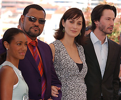 May 15, 2003; Cannes, FRANCE; Actors JADA PINKETT SMITH, LAURENCE FISHBURNE, CARRIE-ANNE MOSS & KEANU REEVES at a photo call for 'The Matrix Reloaded' at the 56th Annual Cannes Film Festival. (Credit Image: © BS555/ZBP/ZUMAPRESS.com)