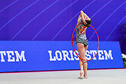 Vladinova Neviana during final at hoop in Pesaro World Cup at Adriatic Arena on April 15, 2018. Neviana was born on February 23,1994 in Pleven, Bulgaria. Her dream is to win a medal at the 2020 Olympic Games in Tokyo.
